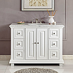 48 inch Transitional Bathroom Vanity Single Sink Cabinet White Finish Carrara Marble Top