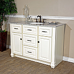 Bella 50 inch Cream White Finish Bathroom Vanity Italy Cararra Top