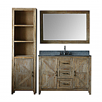 48 inch Distressed Solid Elm Bathroom Vanity Moon Stone Countertop