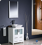 "Fresca Torino 24"" White Modern Bathroom Vanity Vessel Sink with Faucet and Linen Side Cabinet Option"