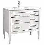 36 inch Contemporary Bathroom Vanity White Glossy Finish White Quartz Countertop