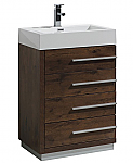 24 inch Rose Wood Finish Modern Bathroom Vanity with Four Drawers