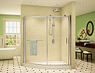 """Fleurco Roma W 66"""" x L 38 1/4"""" x H 75"""" Slice Curved Glass Panel and Door"""