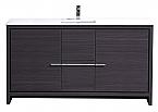 """Modern Lux 60"""" Dark Gray Oak Modern Bathroom Vanity with White Quartz Counter-Top"""