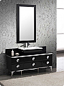 "Fresca Moselle 59"" Black Modern Glass Bathroom Vanity in Faucet Option"