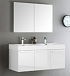 "Fresca Vista 48"" White Wall Hung Double Sink Modern Bathroom Vanity with Faucet, Medicine Cabinet and Linen Side Cabinet Option"