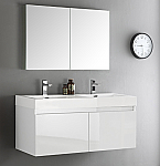 "48"" White Wall Hung Double Sinks Modern Bathroom Vanity with Faucet, Medicine Cabinet and Linen Side Cabinet Option"