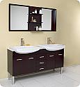 "59"" Espresso Modern Double Sink Bathroom Vanity with Mirror"