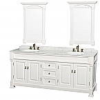 "Andover 80"" Double Bathroom Vanity in White with Undermount Oval Sinks, and 28"" Mirrors with Countertop Options"