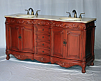 "68"" Adelina Antique Style Double Sink Bathroom Vanity in Cherry Finish with Cream Marble Countertop and Oval White Porcelain Sink"