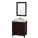 "Sheffield 30"" Single Bathroom Vanity in Espresso with Countertop, Undermount Sink, and Mirror Options"