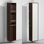 Linen Tower & 360 Degree Rotating Floor Cabinet with Full-Length Mirror in Espresso