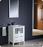"Fresca Torino 24"" White Modern Bathroom Vanity with Faucet and Linen Side Cabinet Option"