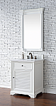 26 inch  White Finish Single Sink Traditional Bathroom Vanity Optional Countertop