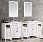 84 inch White Finish Double Sink Traditional Bathroom Vanity with Mirror