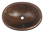 Copper Oval Fleur De Lis Sink Chocolate Finish, Finest handmade