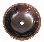 Copper Round Fleur de Lis 15 inch Sink Chocolate Finish