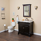 Vintage 36 inch Bathroom Vanity Deep Espresso Finish White Marble Top