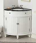 24 inch Adelina Corner Antique Bathroom Vanity White Wood Finish