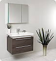 "Fresca Medio 32"" Gray Oak Modern Bathroom Vanity with Faucet, Medicine Cabinet and Linen Side Cabinet Option"