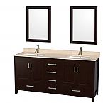 "Sheffield 72"" Double Bathroom Vanity in Espresso with Countertop, Undermount Sinks, and Mirror Options"