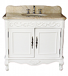 36 inch Adelina Antique Bathroom Vanity White Finish Beige Marble Top
