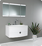 "36"" White Modern Bathroom Vanity with Three Panel Folding Mirror in Faucet Option"