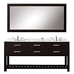 72 inch Espresso Double Sink Bathroom Vanity One Mirror