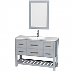 "Natalie 48"" Single Bathroom Vanity in Gray, White Porcelain Countertop, Integrated Sink, and 24"" Mirror"