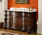 Adelina 60 inch Antique Style Bathroom Vanity White Marble Top