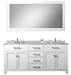 White 60 inch Double Sink Bathroom Vanity Marble Countertop