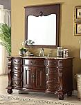 Adelina 60 inch Antique Style Bathroom Vanity Brown Marble Countertop