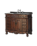 "42"" Antique Style Single Sink Bathroom Vanity with Coral Brown Granite Top, 1"" backsplash"