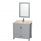 "Sheffield 36"" Single Bathroom Vanity in Gray with Countertop, Undermount Sink, and Mirror Options"