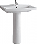 Isabella Collection Tubular Pedestal Sink with Rectangular Basin, Chrome Overflow and Widespread or Single Hole Faucet Drilling Option