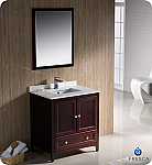 "Fresca Oxford Collection 30"" Mahogany Traditional Bathroom Vanity with  Top, Sink, Faucet and Linen Cabinet Option"