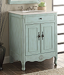 "26"" Adelina Cottage Light Blue Bathroom Vanity Crystal White Marble Top"