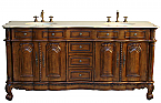 Adelina 74 inch Antique Double Bathroom Vanity Chestnut Finish