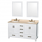 "Sheffield 60"" Double Bathroom Vanity in White with Countertop, Undermount Sinks, and Mirror Options"