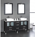 "71"" Solid Wood Bathroom Vanity with a White Porcelain Counter Top and Two Matching White Vessel Sinks, Two Mirrors, and Brushed Nickel Faucets and Drains"