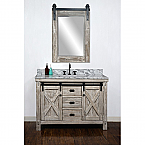 48 Inch Rustic Solid Fir Barn Door Style Double Sinks Vanity With Top Options -Driftwood or White Wash