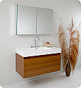 "Fresca Mezzo 39"" Teak Modern Bathroom Vanity with Faucet, Medicine Cabinet and Linen Side Cabinet Option"