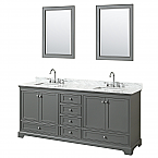 80 inch Double Sink Transitional Grey Finish Bathroom Vanity Set