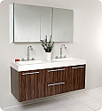 54 inch Walnut Modern Double Sink Floating Bathroom Vanity
