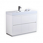 "Modern Lux 48"" High Gloss White Free Standing Modern Bathroom Vanity"