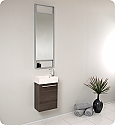 "Fresca Pulito 16"" Small Gray Oak Modern Bathroom Vanity with Faucet, Medicine Cabinet and Linen Side Cabinet Option"