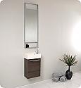 15 inch Small Gray Oak Modern Bathroom Vanity