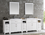 96 inch White Finish Double Sink Traditional Bathroom Vanity with Mirror