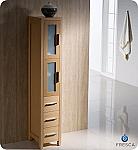 Torino Light Oak Tall Bathroom Linen Side Cabinet