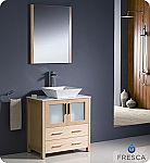 "30"" Light Oak Modern Bathroom Vanity Vessel Sink with Faucet and Linen Side Cabinet Option"